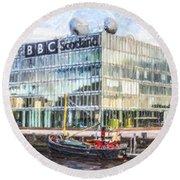 Bbc Scotland Broadcasting Centre Glasgow Round Beach Towel
