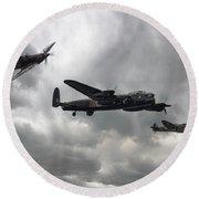 Bbmf Lancaster Spitfire Hurricane Round Beach Towel