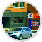 Bbq Coreen Korean Resto Cavendish St Jacques Montreal Summer Cafe City Scene Carole Spandau Round Beach Towel