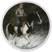 Big Creek Man On Spotted Horse Round Beach Towel