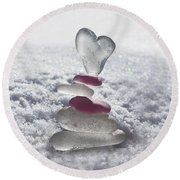 Be Careful With My Heart Round Beach Towel