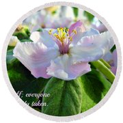 Be Yourself Flower Round Beach Towel