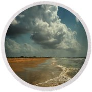Beach And Clouds Round Beach Towel