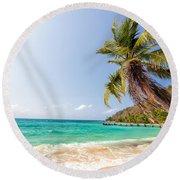 Beach And Palm Tree Round Beach Towel