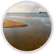 Beach And Rippled Water At The Wadden Sea. Round Beach Towel