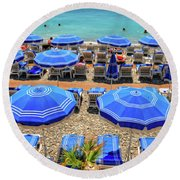 Beach At Nice France Round Beach Towel