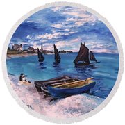 Beach At Sainte Adresse Monet Round Beach Towel