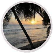 Beach At Sunset 4 Round Beach Towel