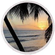 Beach At Sunset 5 Round Beach Towel