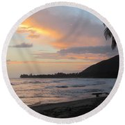 Beach At Sunset 6 Round Beach Towel