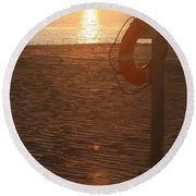 Beach At Sunset Round Beach Towel