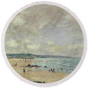 Beach At Trouville Round Beach Towel