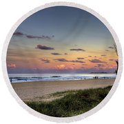 Beach At Twilight Round Beach Towel