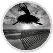 Beach Ballerina Round Beach Towel by Nina Bradica