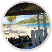 Beach Bar In January Round Beach Towel