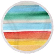 Beach Blanket- Colorful Abstract Painting Round Beach Towel