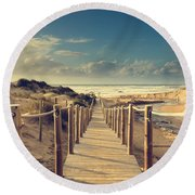 Beach Boardwalk Round Beach Towel
