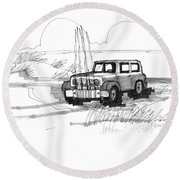 Beach Buggy Ocracoke 1970s Round Beach Towel