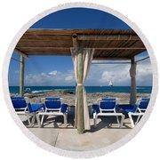 Beach Cabana With Lounge Chairs Round Beach Towel