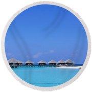 Beach Cabanas, Baros, Maldives Round Beach Towel