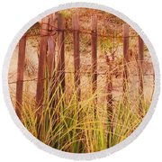 Beach Dune Fence At Cape May Nj Round Beach Towel
