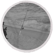 Beach Fishing Round Beach Towel