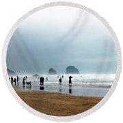 Beach Fun At Ecola  Round Beach Towel