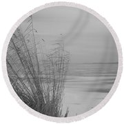 Beach Grass In The Snow Round Beach Towel
