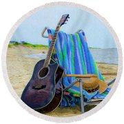 Beach Guitar Round Beach Towel