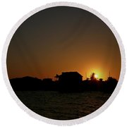 Beach Home Silhouette Round Beach Towel