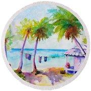 Beach House Tropical Paradise Round Beach Towel