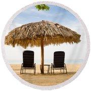 Beach Hut For Two Round Beach Towel