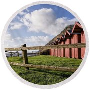 Beach Huts At Branscombe Round Beach Towel
