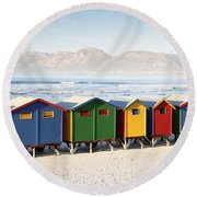 Beach Huts At Muizenberg Round Beach Towel