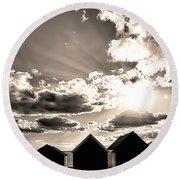 Beach Huts In Black And White Round Beach Towel