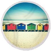 Beach Huts Muizenberg Retro Round Beach Towel