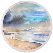 Beach In Lanzarote Round Beach Towel