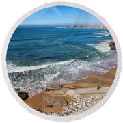 Beach In Resort Town Of Estoril Round Beach Towel