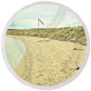 Beach In Scotland Round Beach Towel