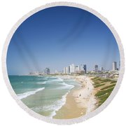 Beach In Tel Aviv Israel Round Beach Towel