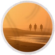 Beach Landscape Silhouetted Sunrise Walkers Nc Round Beach Towel