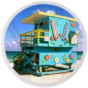 Beach Life In Miami Beach Round Beach Towel