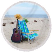 Beach Music Round Beach Towel