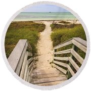 Beach Path Round Beach Towel by Adam Romanowicz