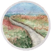 Beach Path Round Beach Towel by Linda Woods