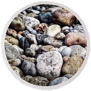 Pebbles On Beach Round Beach Towel