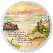 Beach Post Sunrise Psalm 139 Round Beach Towel