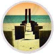 Beach Pylons Round Beach Towel
