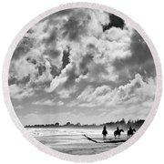 Beach Riders Round Beach Towel by Dave Bowman