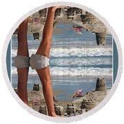 Beach Scene Round Beach Towel
